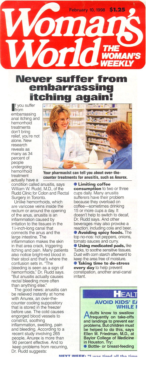 Anurex � Doctors opinion, Newspaper articles - ANUREX.co.uk